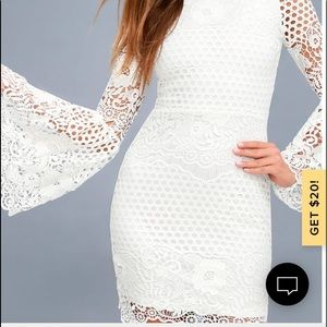 Lulu's Angelisa White Lace Long Sleeve Dress